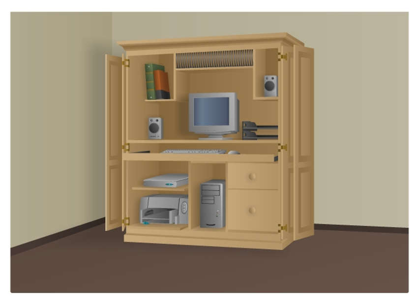 small home network consisting of a monitor, computer tower, keyboard, mouse, speakers, and printer located in a cabinet