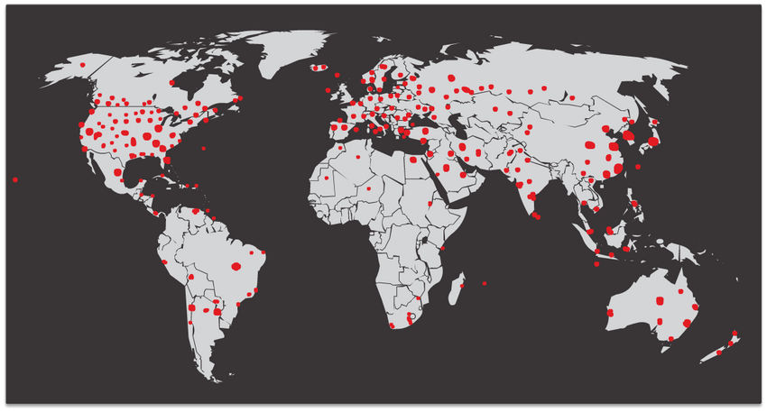 The figure depicts the initial SQL Slammer infection across the globe.