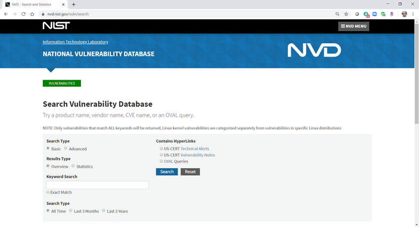 Image is a screenshot of the National Vulnerability Database (NVD) search screen, available at https://nvd.nist.gov/vuln/search