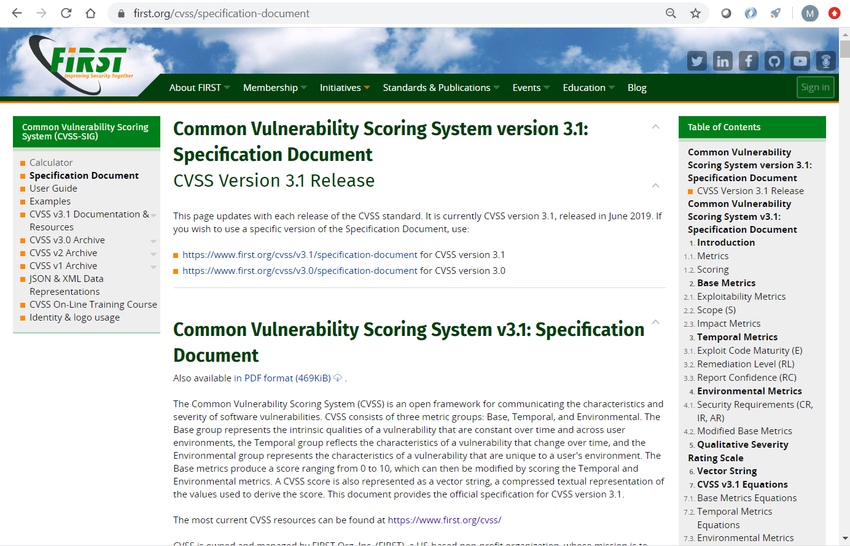 The image displays a screenshot of the specification page for CVSS at the Forum of Incident Response and Security Teams (FIRST) website at the URL https://first.org/cvss/specification-document