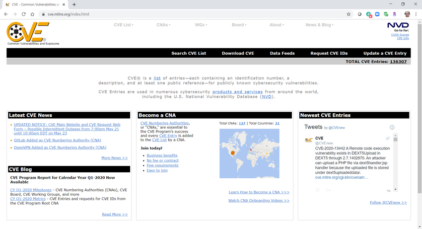 Image is a screenshot of the CVE screen at Mitre.og, available at https://cve.mitre.org/