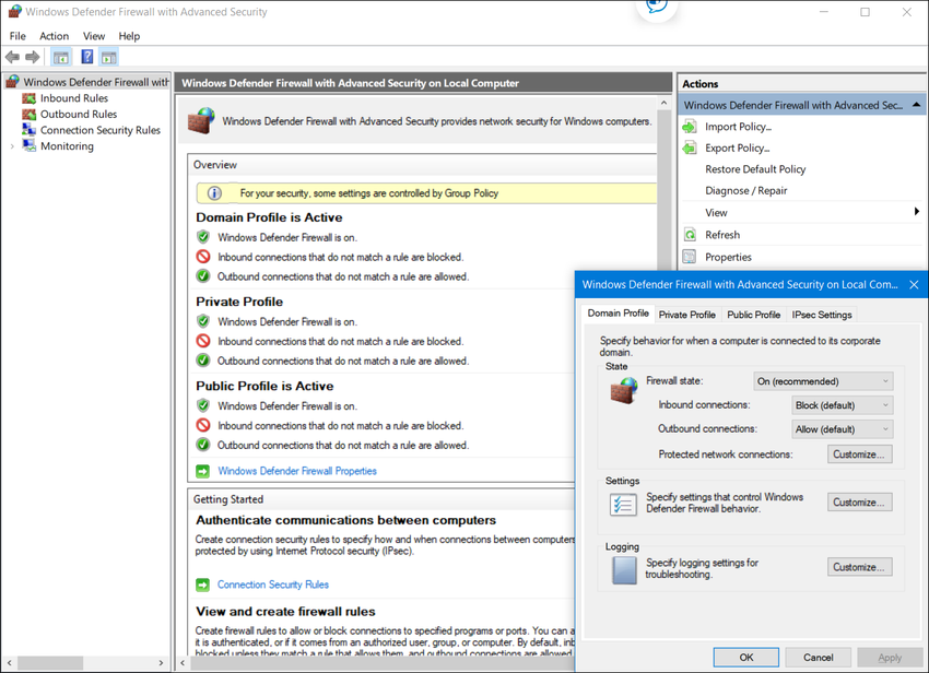 The figure shows the Windows Defender firewall with advanced security window. An interior window shows the domain profile tab that shows the firewall state as on (recommended), inbound connections: block (default), outbound connections: allow (default). Other options that can be customized included protected network connections, settings, and logging.