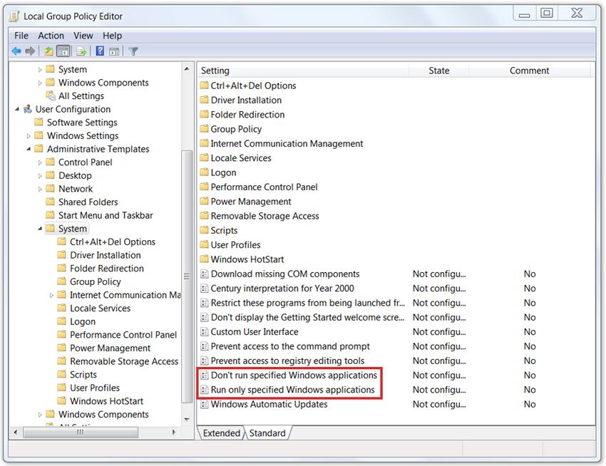 The figure shows the windows local group policy editor window with the following settings with a box around it: don't run specified windows applications and run only specified windows applications.