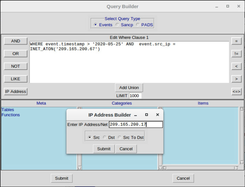 The figure shows the Sguil Query Builder interface which aids in constructing proper Sguil query syntax.