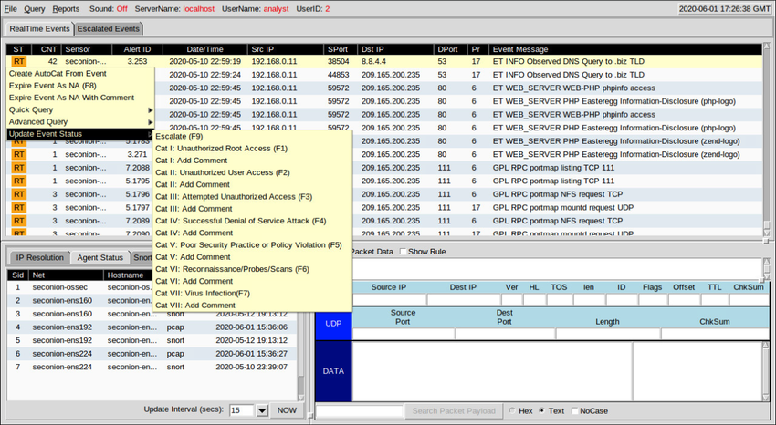 The figure shows how alert events can be updated with comments and placed into different category levels by right+clicking on the alert status in the ST column, choosing Update Event Status, and then choosing a Category level with or without comment.