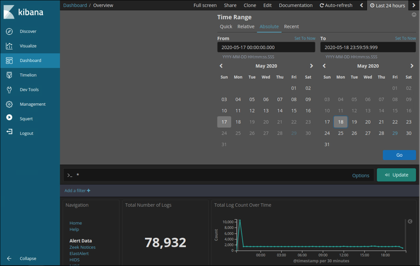 The figure shows how to set an absolute time range in Kibana by clicking Last 24 Hours in the upper rght corner of the interface and choosing the Absolute tab.