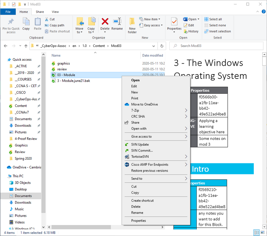 The figure shows the Windows File Explorer, the documents folder opened and a text document highlighted. The right+click Context Menu options are shown for the file.