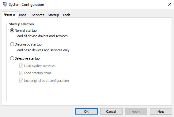 The figure shows the first of the 5 tabs of the System Configuration tool formally called msconfig. The General tab has three choices for system startup: Normal startup, Diagnostic startup, and Selective startup.