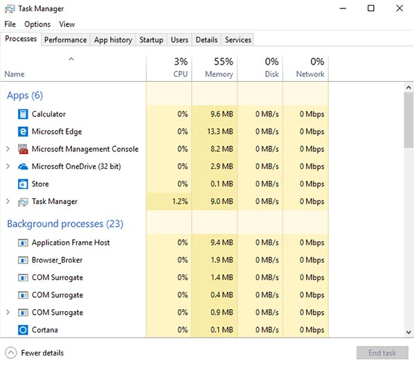 The figure shows running processes including applications, background processes, and system processes which are shown within the Processes tab within the Task Manager tool.