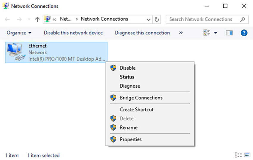 The figure shows how to access network adapter properties by right+clicking on an Ethernet network interface within the Network Connections control panel utility.