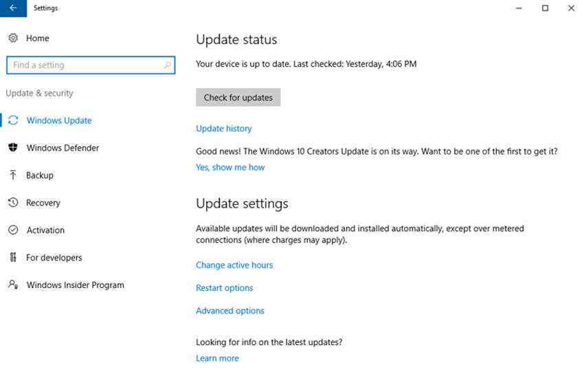 The figure shows the Windows Update App interface which is part of the Settings App.