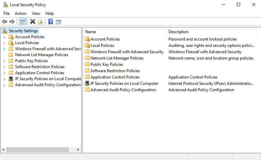 The figure shows the Local Security Policy system utility applet.