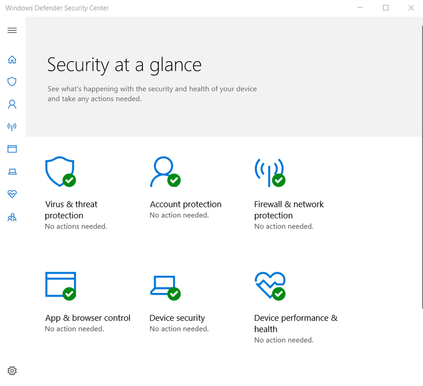 The figure shows the interface to the Windows Defender Security Center App which has icons for the following tools: Virus & threat protection, Account protection, Firewall & network protection, App & browser control, Device security, and Device performance & health.
