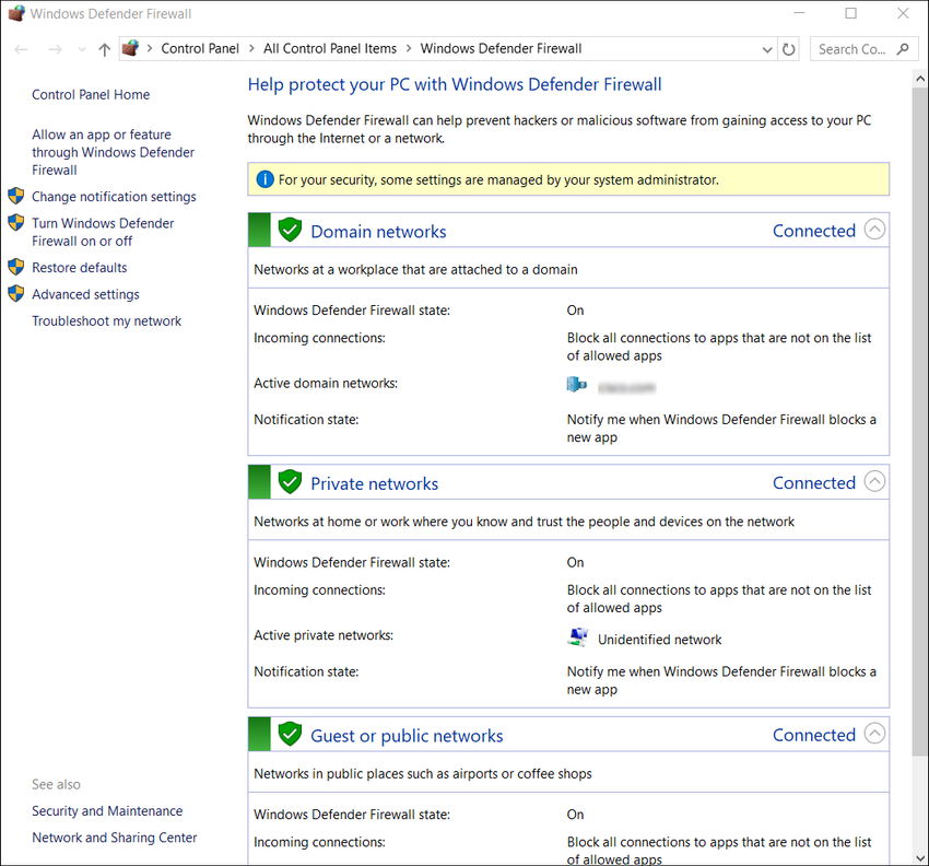 The figure shows control panel interface for the Windows Defender Firewall.